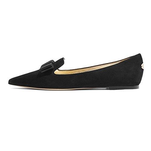Pumps Classic Flats Women Pumps Bowtie ELASHE Toe Pointed Flats Suede Ballet Flat Black EHOaq8w