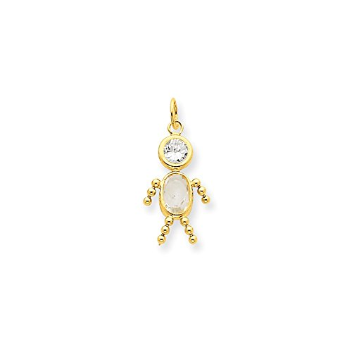 14k Yellow Gold Synthetic April Boy Birthstone Charm