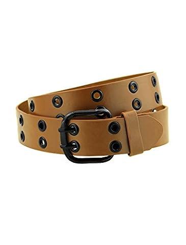 uxcell Men Double Prong Adjustable Eyelets Design PU Belt Light Brown - Eyelet Belt