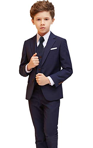 Iyan Boys Suits 5 Piece Slim Fit Suit,Ring Bearer Suits (8, Navy Blue (Tie))
