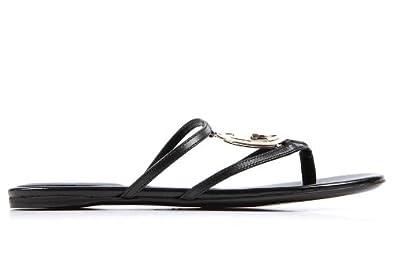 95a160f93d3 Gucci women s leather flip flops sandals black UK size 2.5 244324 A3N00 1000