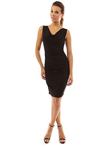 PattyBoutik Women's Cowl Neck Sleeveless Ruched Dress (Black S) - Sleeveless Cowl Neck Dress