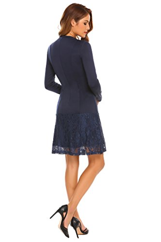 4 Women Slim Zeagoo Blue Party 3 Style Line Cocktail Patchwork A 3 Navy Sleeve Dress Lace Tw8dEU8x