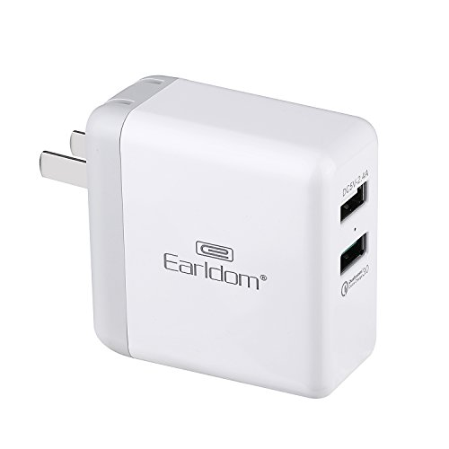 Quick Charge 3.0 30W 2-Port USB Fast Wall Charger Compatible Samsung Galaxy S8 S7 S6 Edge Plus Note 8,LG G5 G6 V20 V30,HTC 10 One A9, and iSmart 2.4A iPhone 8 7 6s 6 5 Plus, iPad Pro ,Air 2 ,mini