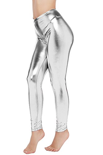 PINKPHOENIXFLY Womens Sexy Shiny Faux Leather Leggings Pants (S, Silver)