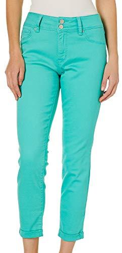 - Royalty by YMI Womens Roll Cuff Ankle Jeans 14 Aqua Blue