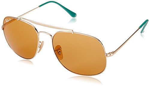 Ray-Ban RB3561 The General Square Sunglasses, Gold/Polarized Yellow, 57 mm (Ban Ray 3561)