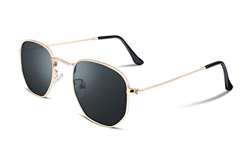 FEISEDY Hipster Polygon Sunglasses Small Metal Frame Delicate Temple Women B2254 (Polarized Gold frame grey lens, ()