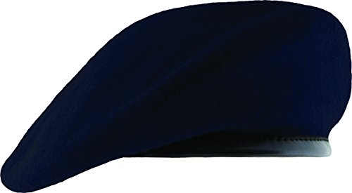 Unlined Beret with Leather Sweatband (7 1/2, Navy - Beret Navy Blue