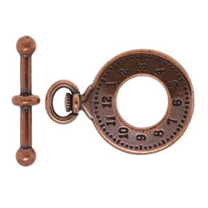 (29x20.5mm Antique Copper Plated Pewter Clock Toggle Clasp by TierraCast®)