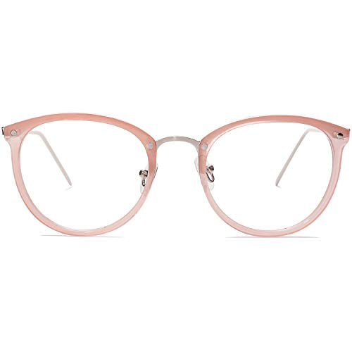 Amomoma Round Non-Prescription Eyeglasses Clear Lens Glasses Eyewear Frame A5001 with Pink Frame/Clear ()