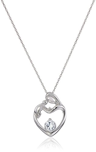 10k White Gold Round Aquamarine framed in Heart Mother's Jewel Diamond Accent Pendant Necklace - Baby Diamond Heart