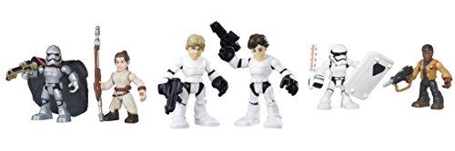 Star Wars Galactic Heroes Rey (Jakku), Captain Phasma, Luke Skywalker, Han Solo, Finn & First Order Stormtrooper Figure Bundle