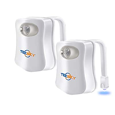 TekSky 2-Pack 16-Color Toilet Night Light, Motion Sensor LED Toilet Bowl Nightlight with IP67 Waterpfroof Design, Perfectly for Bathroom and Gift Idea