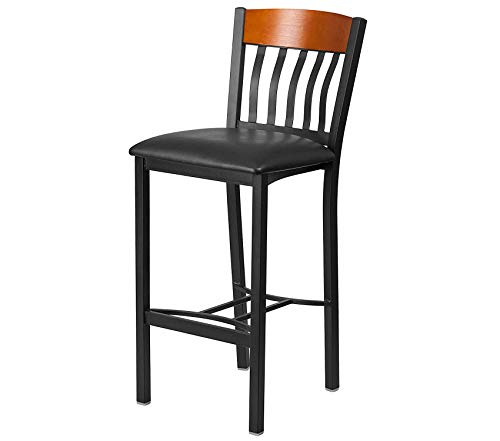 (Office Home Furniture Premium Eclipse Series Vertical Back Black Metal and Cherry Wood Restaurant Barstool with Black Vinyl Seat)