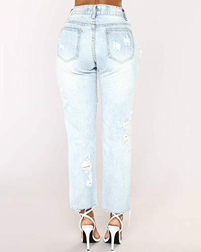 Slim Taille ZhuiKunA Stretch Jeans Pantalons Clair Denim Grandepantalons Bleu Femmes Crayon BSSUqd8w