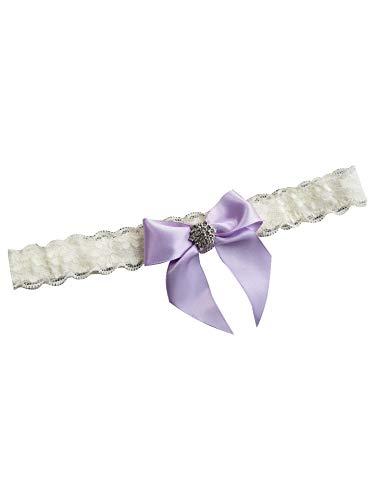 YhdDiy Bridal Garter Wedding Bow Lace Garter for Bride Rhinestone S23 (Lavender) ()