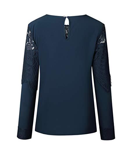 Automne Tops Chemisiers Manches Hauts Casual Femmes Printemps Longues Shirts Mode Bleu et Tee pissure JackenLOVE Dentelle Blouse 874qEw
