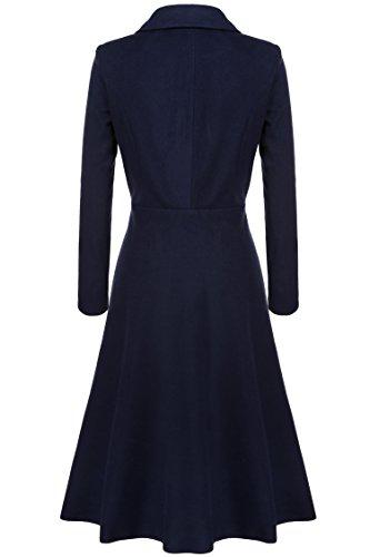 Hiver Coat Manteaux Femmes Epais Bleu Trench Fit Automne Zearo Solide Pardessus Long Classique Extra Slim X7wpWqPA