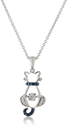 and White Dancing Diamond Accent Cat Pendant Necklace, 18