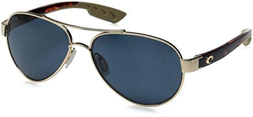 Costa del Mar Women's Loreto Polarized Aviator Sunglasses, Rose Gold Frame w/Tortoise, 56.5 - Mar Aviator Costa Del