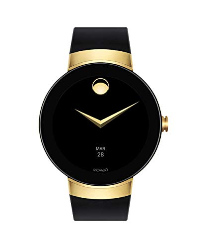 Buckle Steel Stainless Dial (Movado Connect Digital Smart Module Yellow Gold Smartwatch, Gold/Black Strap (Model 3660014) (Renewed))
