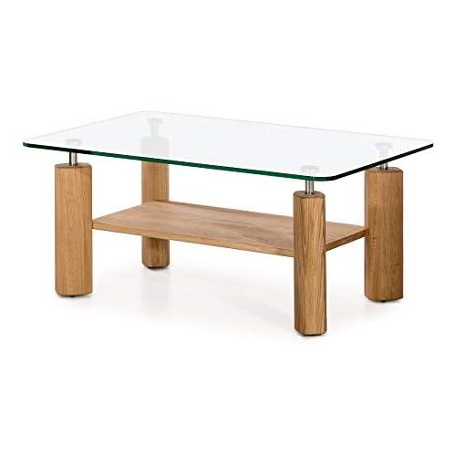 chollos oferta descuentos barato Marca Amazon Alkove Hayes Mesa de centro moderna de madera maciza con superficie de cristal roble salvaje
