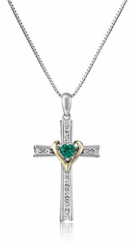 Created Emerald Cross - Sterling Silver and 14k Gold Created Emerald and Diamond Cross My Heart Pendant Necklace, 18