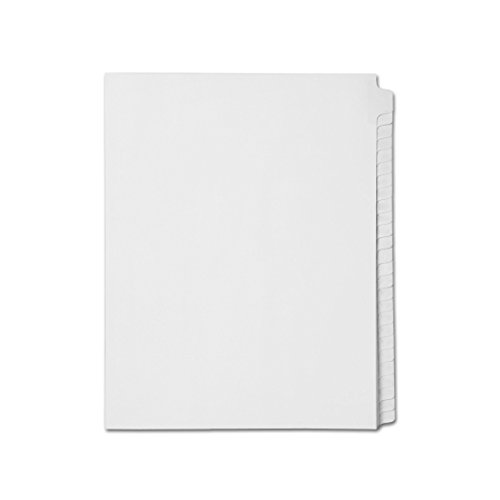 AMZfiling Blank Write-On Side Tab Index Dividers, Compatible with Avery- 25 Tabs, Letter Size, White (25 Sheets/pkg)