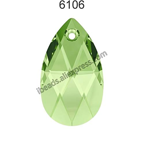 (Pukido (1 Piece) 100% Original Crystal from Swarovski 6106 Pear-Shaped Pendant from Austria Loose Beads Rhinestone DIY Jewelry Making - (Color: Peridot 214, Item Diameter: 16mm))