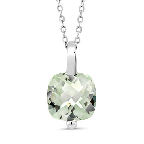 3.33 Ct Cushion Checkerboard Green Amethyst 925 Silver Pendant With Chain (Board Jewelry Pendant)
