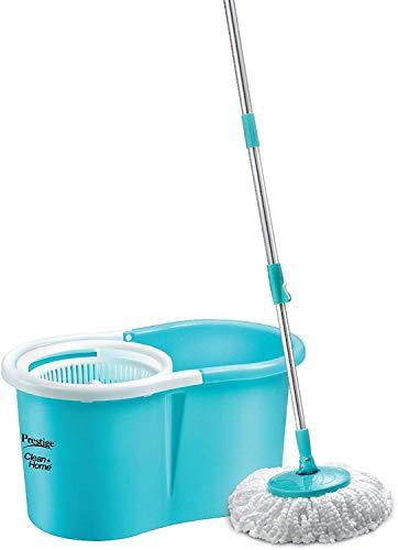 Prestige PSB04 DLX Clean Home Plastic Magic Mop with 2 Mop Heads  Medium, Aqua