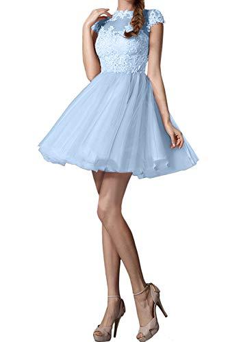 Rosa Spitze Kurzarm Marie Blau Tanzenkleider Mini Himmel Kurz Abendkleider Braut La Promkleider Cocktailkleider TqEUnwUtIx