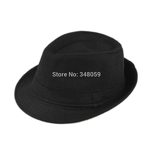 Cotton Wool Felt Hat Cap Upturn Chapeu Gorro Floppy Feodora Hats Short Brim Sun hat Black Ribbon Band Women Men ()