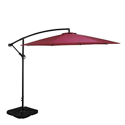 Tourke Patio 10' Hanging Offset Umbrella Outdoor Cantilever Market Umbrella with Crank, 8 Steel Ribs (Wine)