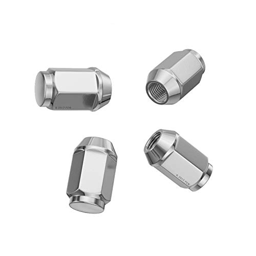 "4pc Silver/Chrome Bulge Lug Nuts - Metric 12x1.5 Threads - Conical Cone Taper Acorn Seat Closed End - 1.4"" Length - Installs with 19mm or 3/4"" Hex Socket"