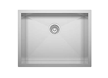 """ZUHNE 23X18 ADA Compliant Shallow 6"""" Basin Zero Radius Single Bowl Under  Mount Stainless Steel Bar, Prep, Kitchen, Laundry and Utility Sink, Fits  27"""" ..."""
