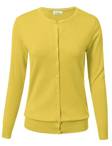 Women Button Down Long Sleeve Crewneck Soft Knit Cardigan Sweater S Yellow (Leopard Print Ribbed Cardigan)