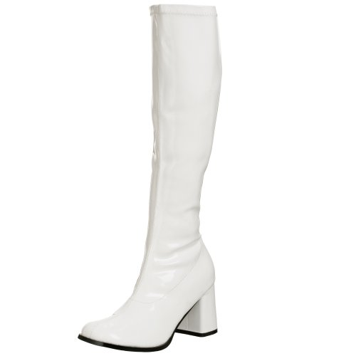 Funtasma by Pleaser Women's Gogo-300,White Patent,5 (Blue Go Go Boots)