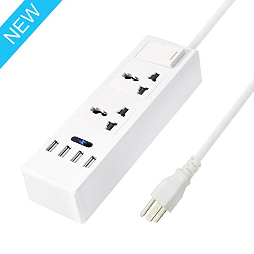 VUOHOEG Portable Universal 2 Outlets Surge Protector Travel Power Strip with 4 Smart USB Charger Ports and 5ft Long Extension Cord Multi-Port Wall Charger Station