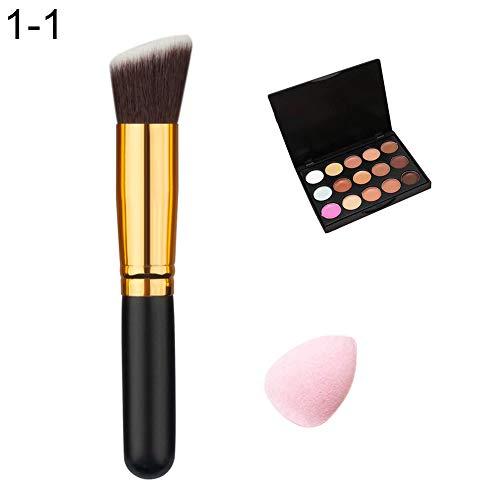 soAR9opeoF Face Concealer,15 Colors Acne Corrector Face Concealer Cream Makeup Brush Powder Puff Set Brushes Makeup Tool 1# 1