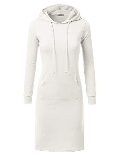 DOUBLJU Hoodie Midi Dress for Women with Plus Size Ivory S