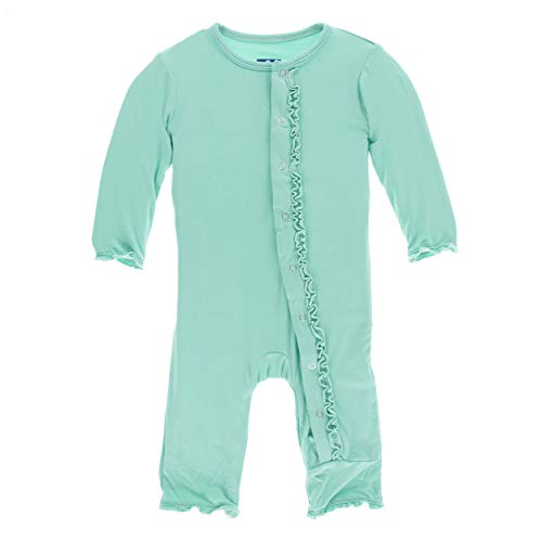 Kickee Pants Little Girls Solid Muffin Ruffle Coverall with Snaps - Glass, 3-6 Months ()