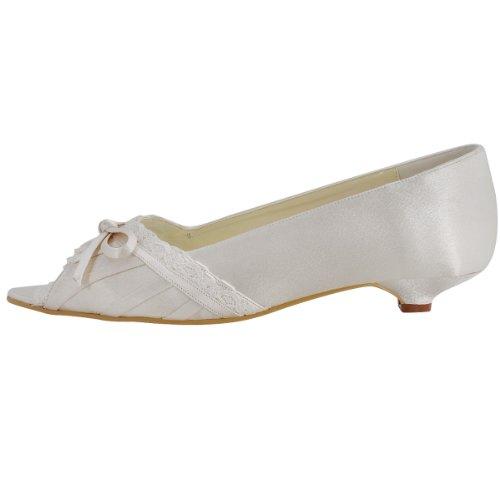 ElegantPark EL10009 Mujer Mini Tac¨®n Fiesta Zapatillas Cu?as Borde Arcos Sat¨¦n Zapatos De Boda Ivoire