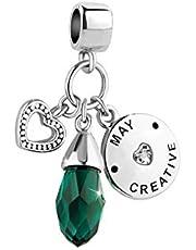 Luluadorn Jan-Dec Teardrop Birthstone Charm for Women Girls Birthday Gifts fits Bracelets & Necklaces