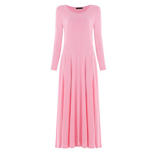 OBEEII Women Liturgical Praise Loose Fit Dance Dress Adult Long Sleeve Lyrical Tea Length Dancewear Costume Pink (Pick A Little Ladies Costumes)