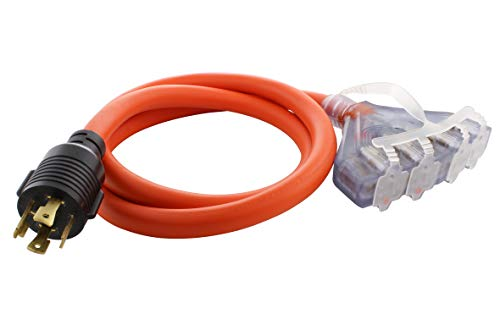 AC WORKS L14-30 30Amp 4-Prong Locking Generator Distribution Cord (5FT L14-30 to Four 15/20A Household)