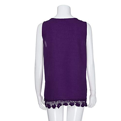 iYBUIA Women O-Neck Sleeveless Pure Color Lace Plus Size Vest Loose T-Shirt Blouse with Hollow Hem Purple by iYBUIA (Image #4)