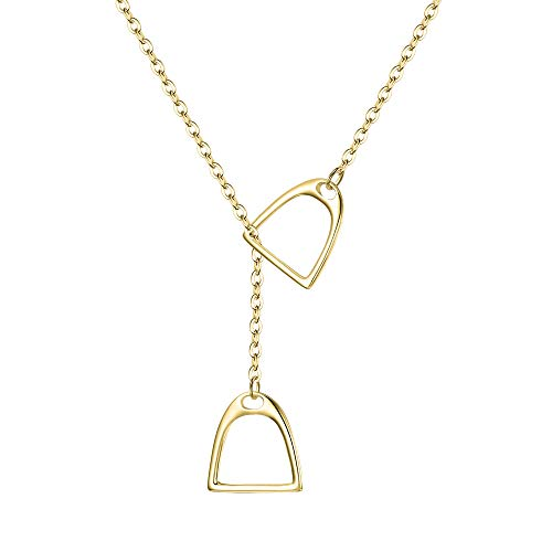 (FANZE Women's 14K Gold Plated Double Horse Strirrup Lariat Necklace Y Style Pendant Necklace Gift For your friends With Chain 18