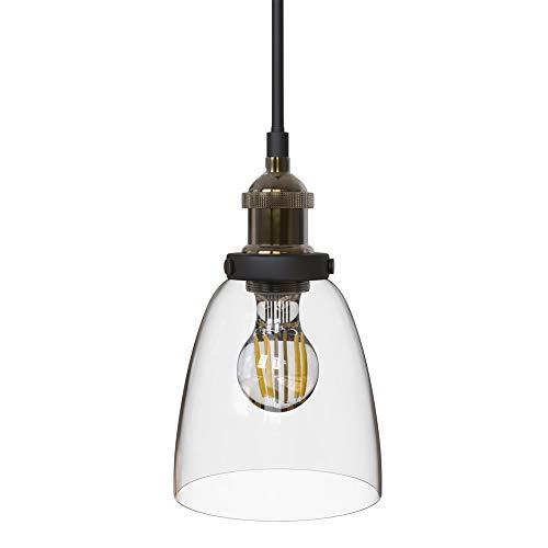 B.K.Licht Lampara de techo colgante de una llama, estilo vintage, requiere bombilla E27 LED, max. 60 W, 230 V, indice de proteccion IP20, color laton y cristal